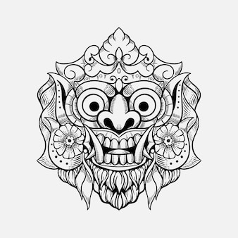 Dämonenmaske bali indonesien t-shirt design illustration