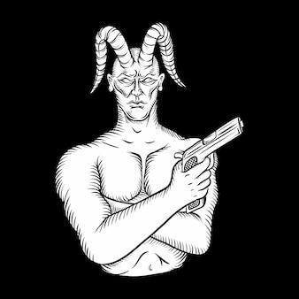 Dämonenteufel, der das gewehr, zeichnend behandelt