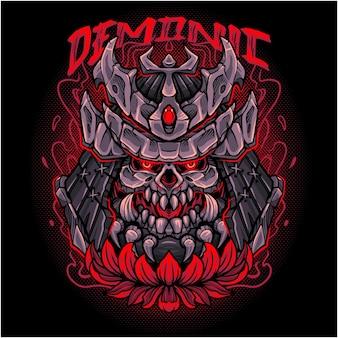 Dämonisches kopf-maskottchen-logo-design