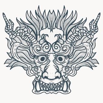 Dämonisches tattoo des chinesischen drachen