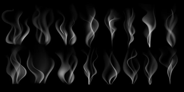 Dämpfender rauch. heißer dampfstrom, rauchende wolke und dampf von kaffeetasse isolierten realistischen 3d-illustrationssatz