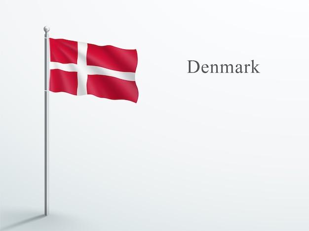 Dänemark flagge 3d element, das auf stahlfahnenmast winkt Premium Vektoren
