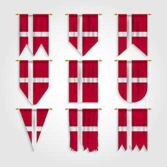 Dänemark flagge in verschiedenen formen