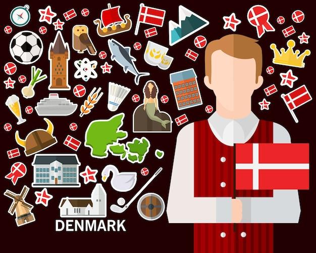 Dänemark-konzepthintergrund. flache ikonen