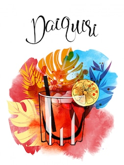 Daiquiri cocktail aquarellillustration