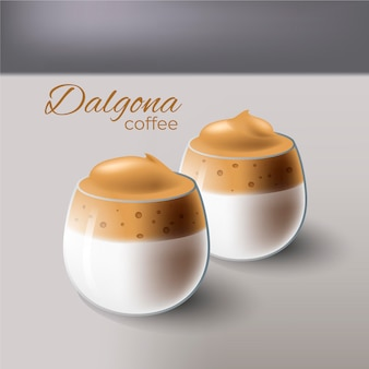 Dalgona kaffee illustration