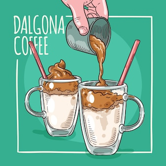 Dalgona kaffee illustration