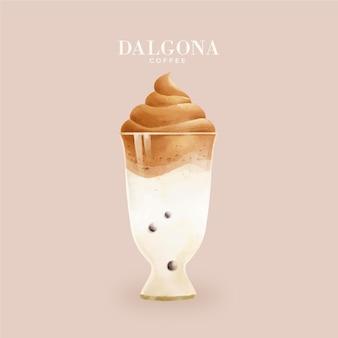 Dalgona kaffeeillustrationskonzept