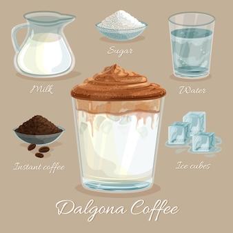 Dalgona kaffeerezept mit eiswürfeln