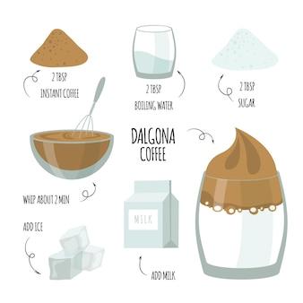 Dalgona kaffeerezept und zutaten