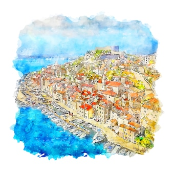Dalmatien kroatien aquarell skizze hand gezeichnete illustration