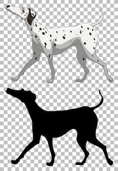 Dalmatinischer hund und seine silhouette