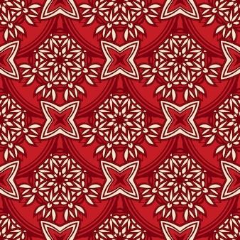 Damast nahtlose gekachelte motiv-vektor-muster. rotes damast-luxus-medaillon-stoffdesign.
