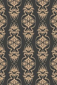 Damast nahtlose retro muster hintergrund botanischen garten spiral kurve kreuzrahmen blatt rebe blume.