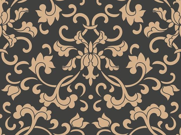 Damast nahtlose retro muster hintergrund botanischen garten spiralkurve kreuzblatt rahmen rebe blume.