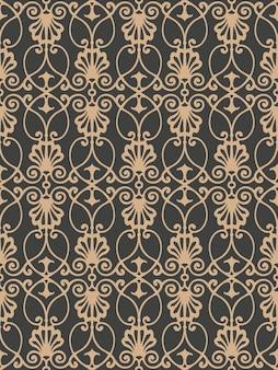 Damast nahtlose retro muster hintergrund botanischen garten spiralkurve kreuzrahmen kette rebe blume.