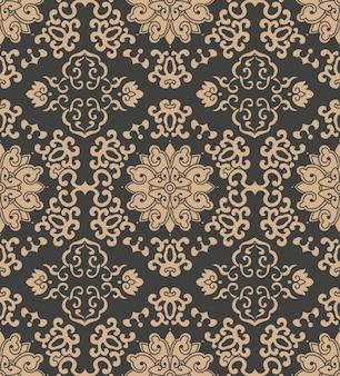Damast nahtlose retro-muster hintergrund orientalische polygon spiralkurve kreuzrahmen weinblatt blume kette.