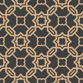 Damast nahtlose retro muster hintergrund polygon geometrie kreuzkette rahmen stern blume.