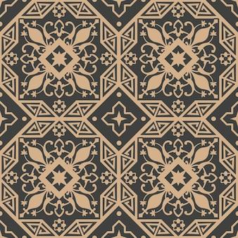 Damast nahtlose retro muster hintergrund polygon geometrie kreuzrahmen blumenblatt rebe.