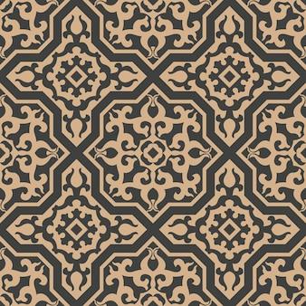 Damast nahtlose retro muster hintergrund polygon geometrie kreuzrahmen spiralkurve kreuz pflanze wappen.