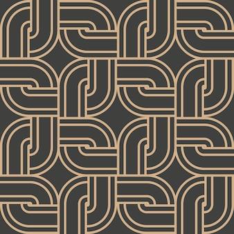 Damast nahtlose retro-muster hintergrund runde kurve ecke kreuz quadratischen rahmen kettenlinie.