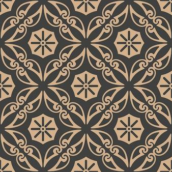 Damast nahtlose retro muster hintergrund spiralkurve kreuz botanischen garten rebe blume.