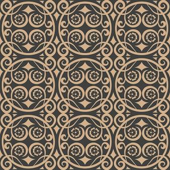 Damast nahtlose retro muster hintergrund spiralkurve kreuzrahmen rebe blume.