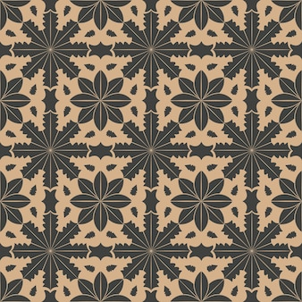 Damast nahtlose retro-muster hintergrundkurve stern kreuz botanischen garten blumenrahmen.