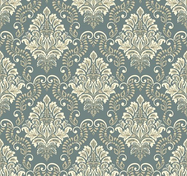Damast nahtloser prägemusterhintergrund. klassische luxus alte damastverzierung, königliche viktorianische nahtlose beschaffenheit. vintage exquisite blumenbarockschablone.