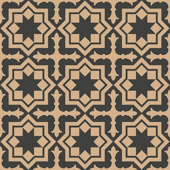 Damast nahtloser retro muster hintergrund stern kreuz polygon geometrie rahmen.