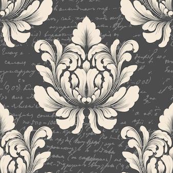 Damast nahtloses muster mit altem text. klassische luxus altmodische damastverzierung, königliche viktorianische nahtlose beschaffenheit für tapeten, textil.