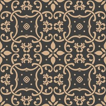Damast nahtloses retro muster hintergrund botanischen garten spiralkurve kreuzblatt rahmen weinstock kaleidoskop.