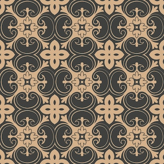 Damast nahtloses retro muster hintergrund spiralkurve kreuz botanischen garten blatt rebe blume kaleidoskop.