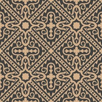 Damast nahtloses retro-muster hintergrund überprüfen spiralkurve welle kreuzrahmen linie kaleidoskop.