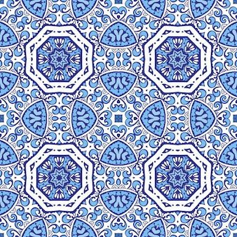 Damastblumenblau nahtloses orientalisches schnörkelvignettenfliesendesign