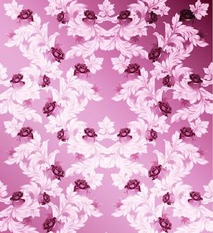 Damastmuster mit rosafarbenem blumenhandgemachtem verzierungsdekor. barocke hintergrundtexturen