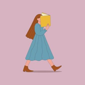 Dame geht und liest eine buchillustration im flachen cartoon-stil