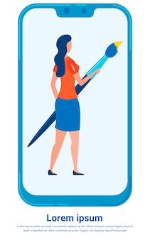 Dame holding big paintbrush auf smartphoneschirm