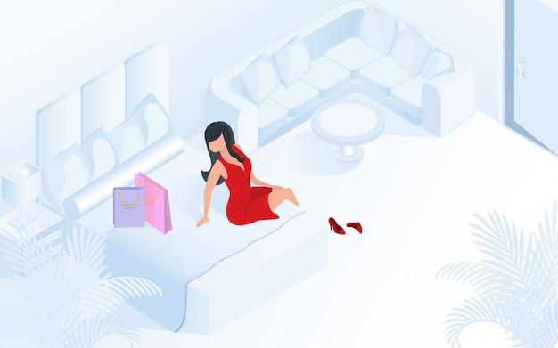 Dame im roten kleid mit einkaufstasche-hotelzimmer