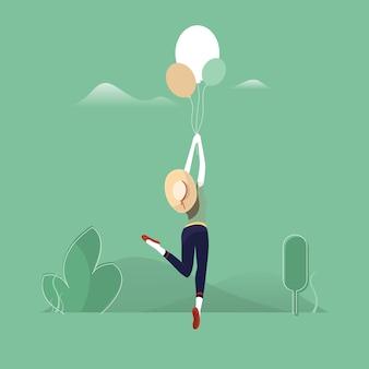 Dame mit luftballons, mädchen fliegt mit luftballons