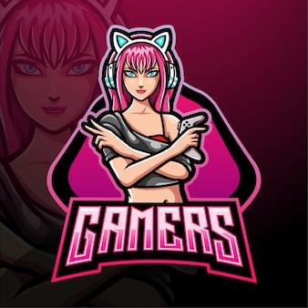 Damen gamer esport logo maskottchen design