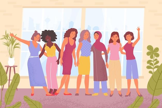 Damen verschiedener nationalitäten umarmen sich flach