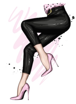 Damenbeine in stylischen hosen und hochhackigen schuhen