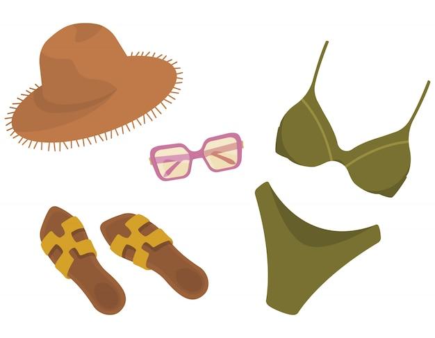 Damenbekleidung und accessoires. sommerkollektion im cartoon-stil.
