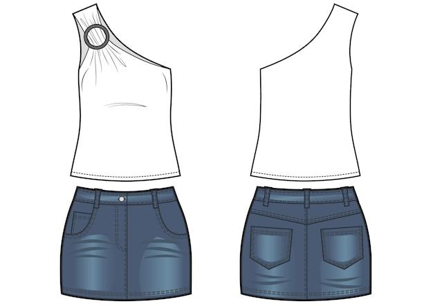 Damenbekleidungsset aus top und blauem jeansrock