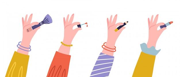 Damenhände mit kosmetischem zubehör - lippenstift, augenstift, pinsel und nagellack. flache illustration der weiblichen hände mit kosmetischen werkzeugen. isoliert auf weißem hintergrund designelemente.