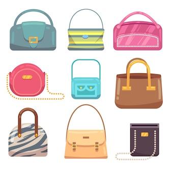 Damenhandtaschen-vektorsatz. weibliches leder der modetasche, damenzauber-zusatzillustration