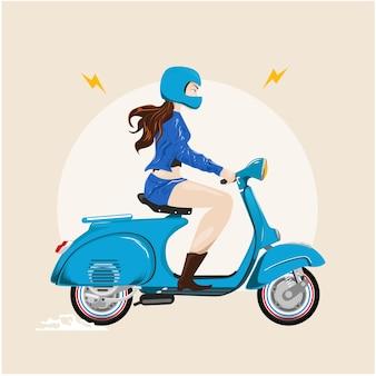 Damenroller vespa, der klassisches motocycle reitet