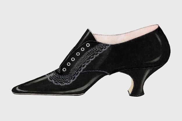 Damenschuh-vektor-vintage-illustration, neu gemischt von der grafik von carl schutz.