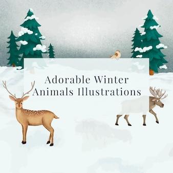 Damhirsch und ein elch in einer verschneiten nacht